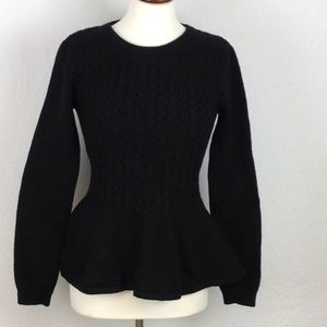 Ted Baker Black Cable Knit Peplum Sweater